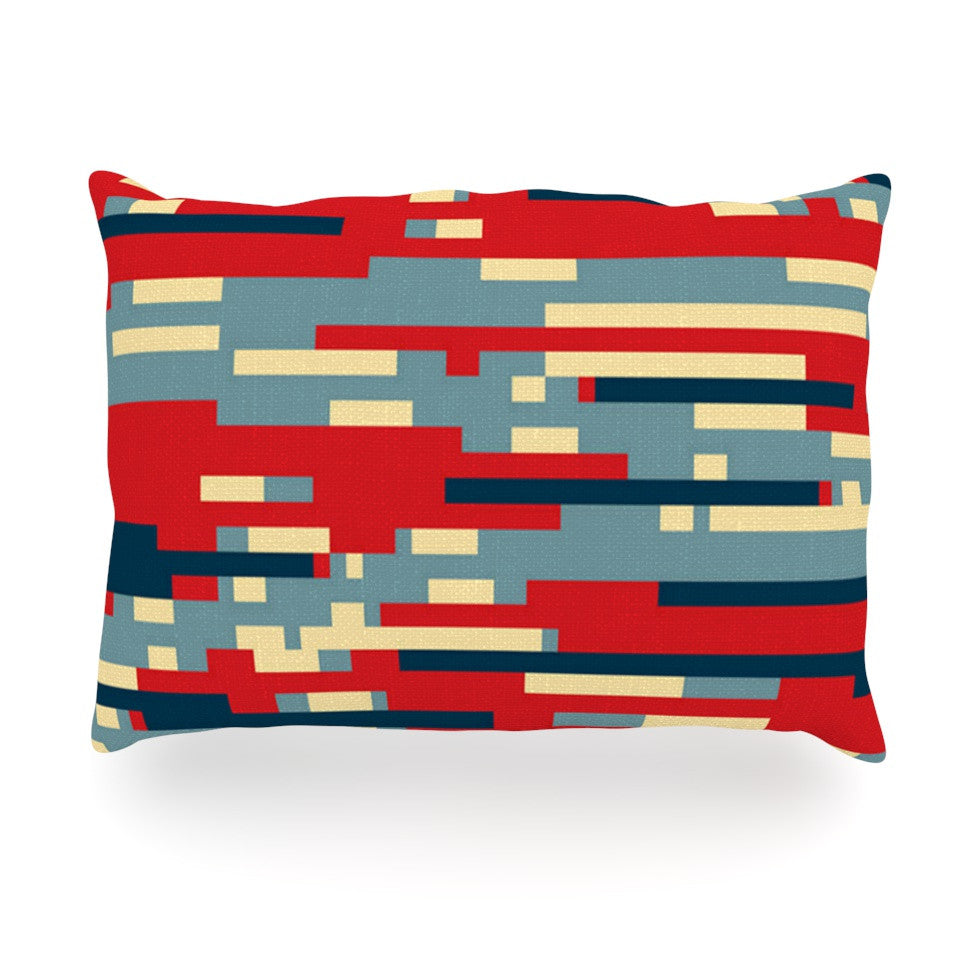 "Trebam ""Nada"" Red Blue Oblong Pillow - KESS InHouse"