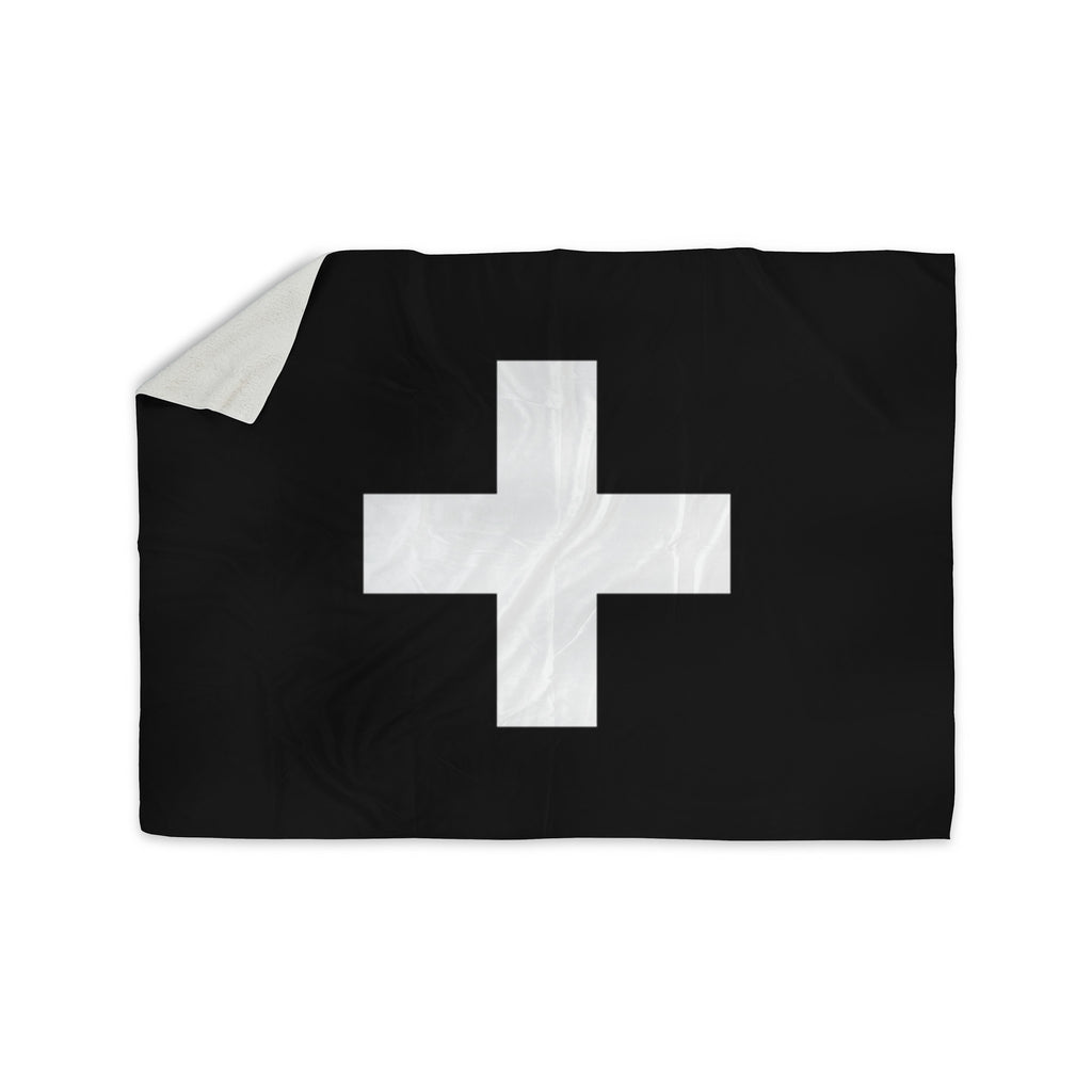 "Trebam ""Plus"" Simple Black Sherpa Blanket - KESS InHouse  - 1"