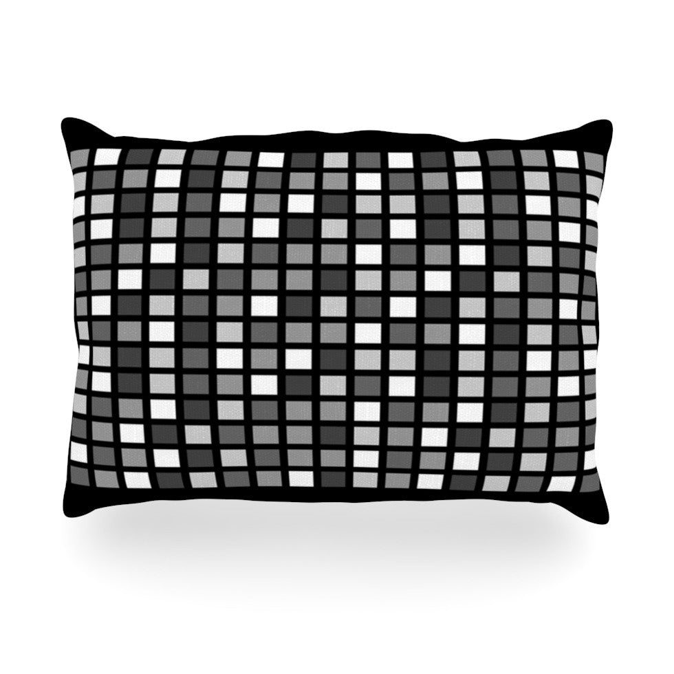 "Trebam ""Plocica"" Gray Grid Oblong Pillow - KESS InHouse"