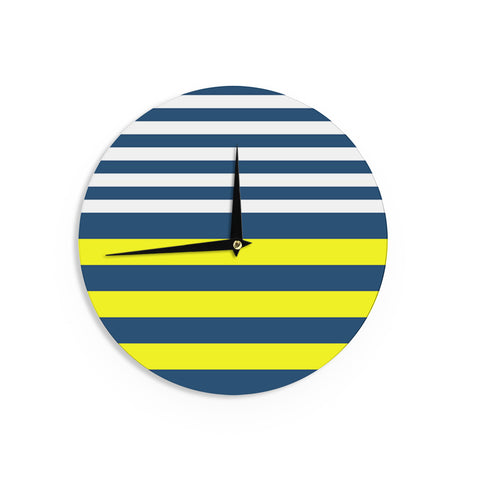 "Trebam ""Nauticki"" Yellow Navy Wall Clock - KESS InHouse"