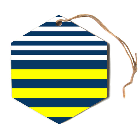 "Trebam ""Nauticki"" Yellow Navy Hexagon Holiday Ornament"