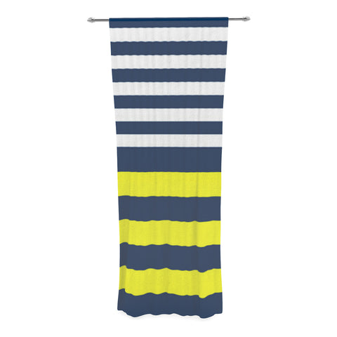 "Trebam ""Nauticki"" Yellow Navy Decorative Sheer Curtain - KESS InHouse  - 1"