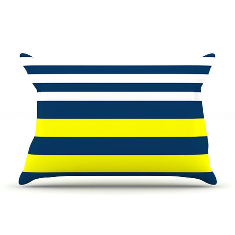 "Trebam ""Nauticki"" Yellow Navy Pillow Sham - KESS InHouse"