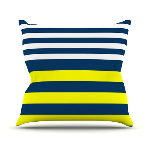 "Trebam ""Nauticki"" Yellow Navy Outdoor Throw Pillow - KESS InHouse  - 1"