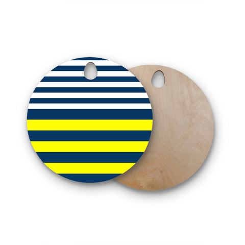 "Trebam ""Nauticki"" Yellow Navy Round Wooden Cutting Board"
