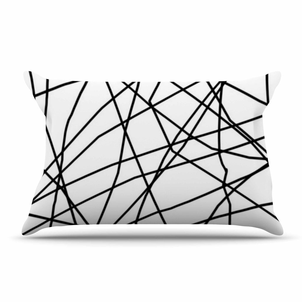 "Trebam ""Paucina v3"" Black White Pillow Sham - KESS InHouse"