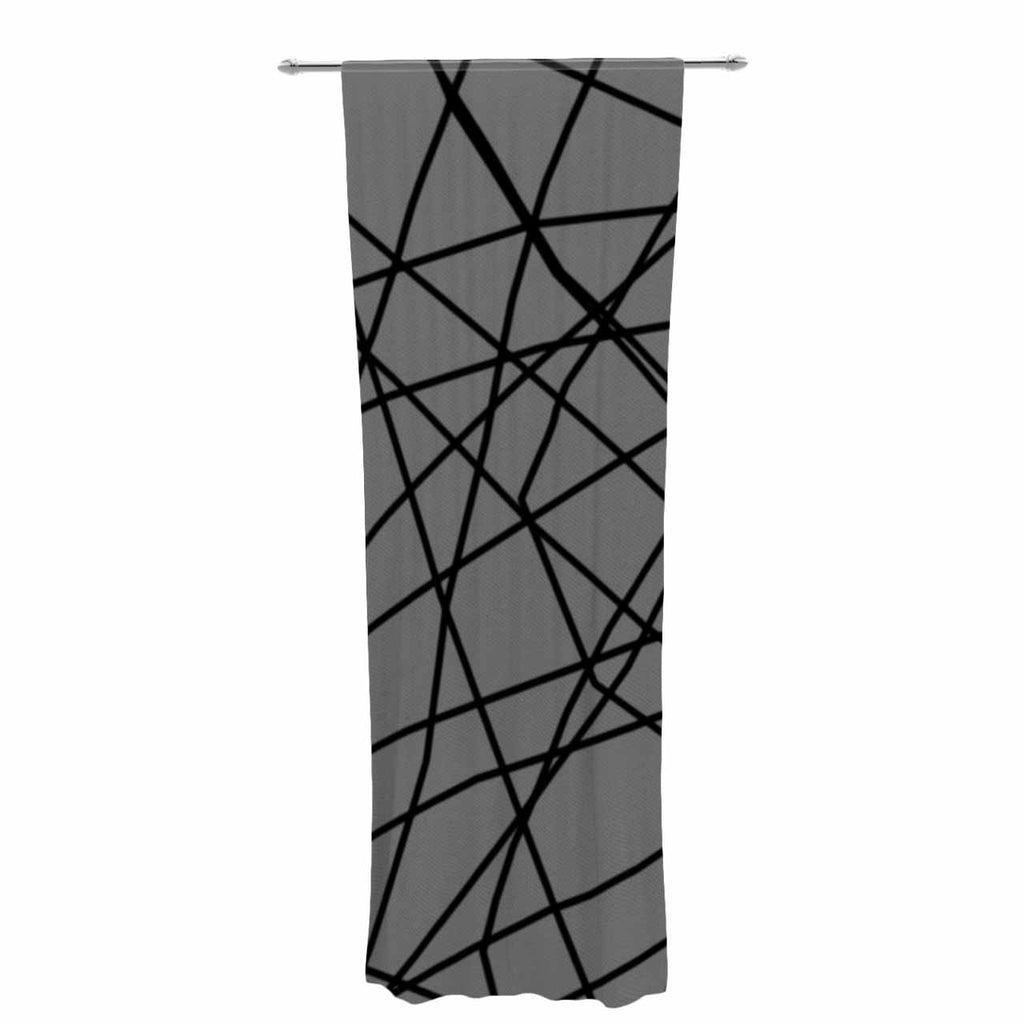 "Trebam ""Paucina v2"" Gray Black Decorative Sheer Curtain - KESS InHouse  - 1"
