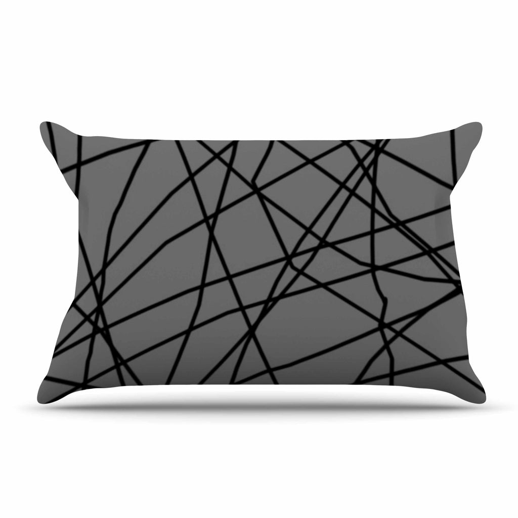 "Trebam ""Paucina v2"" Gray Black Pillow Sham - KESS InHouse"
