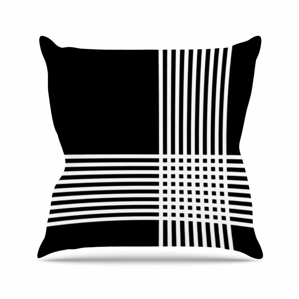 "Trebam ""Krizanje v2"" White Black Outdoor Throw Pillow - KESS InHouse  - 1"