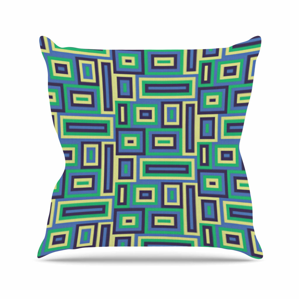 "Trebam ""Jesen"" Green Yellow Outdoor Throw Pillow - KESS InHouse  - 1"