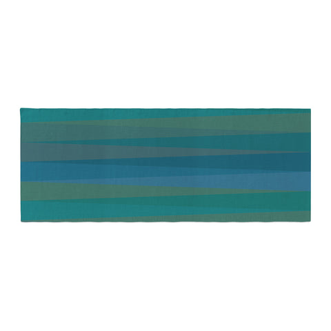 "Trebam ""Trokuti V.2"" Green Blue Bed Runner - KESS InHouse"