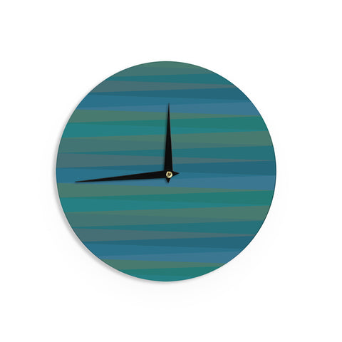 "Trebam ""Trokuti V.2"" Green Blue Wall Clock - KESS InHouse"