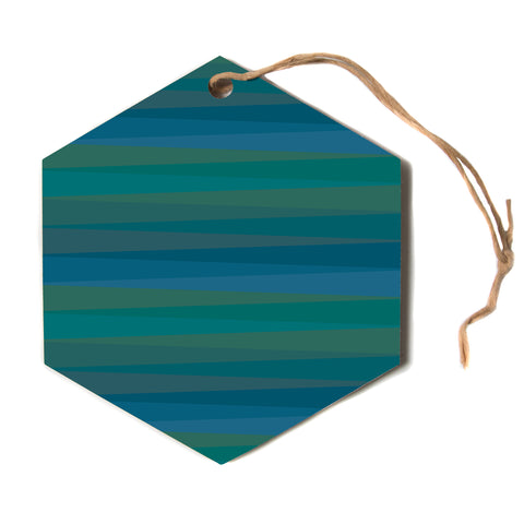 "Trebam ""Trokuti V.2"" Green Blue Hexagon Holiday Ornament"