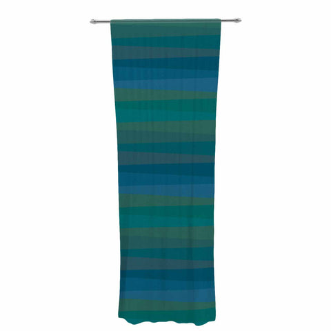 "Trebam ""Trokuti V.2"" Green Blue Decorative Sheer Curtain - KESS InHouse  - 1"