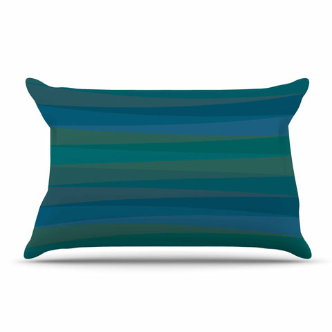 "Trebam ""Trokuti V.2"" Green Blue Pillow Sham - KESS InHouse  - 1"
