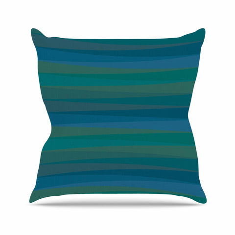 "Trebam ""Trokuti V.2"" Green Blue Throw Pillow - KESS InHouse  - 1"