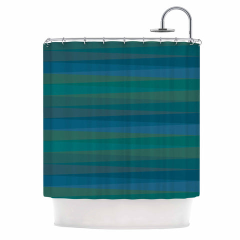 "Trebam ""Trokuti V.2"" Green Blue Shower Curtain - KESS InHouse"
