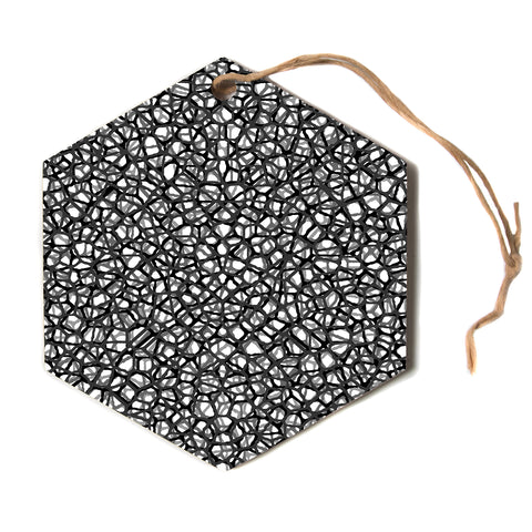 "Trebam ""Staklo grays"" Black Gray Digital Hexagon Holiday Ornament"