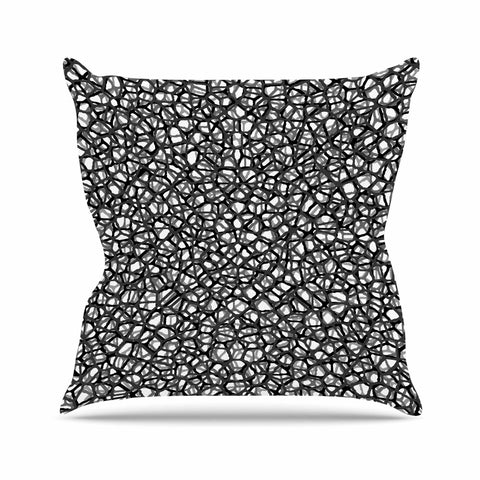 "Trebam ""Staklo (Grays)"" Black Gray Digital Outdoor Throw Pillow - KESS InHouse  - 1"