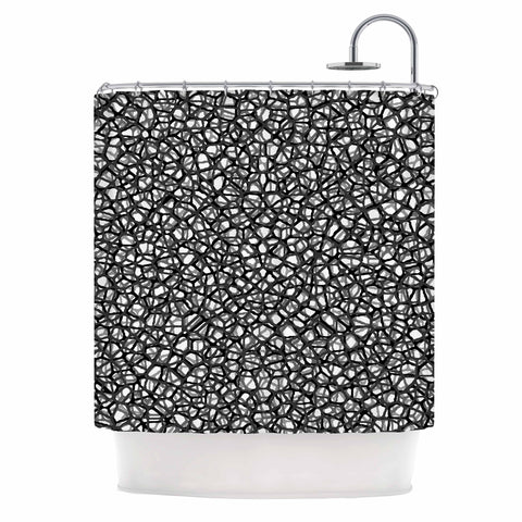"Trebam ""Staklo (Grays)"" Black Gray Digital Shower Curtain - KESS InHouse"