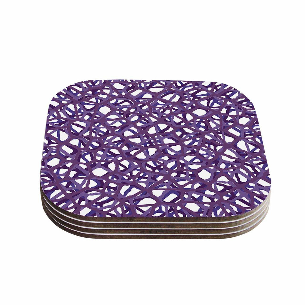 "Trebam ""Vino"" Purple White Modern Vector Coasters (Set of 4)"