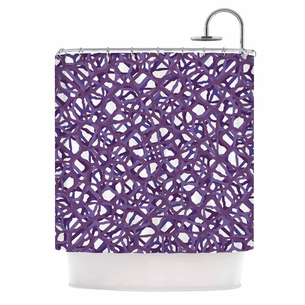"Trebam ""Vino"" Purple White Modern Vector Shower Curtain"