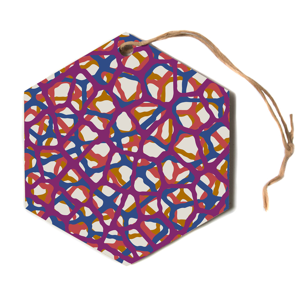 "Trebam ""Staklen"" Beige Multicolor Modern Vector Hexagon Holiday Ornament"