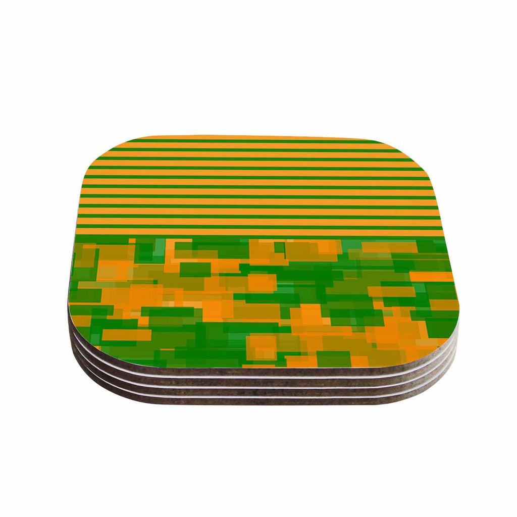 "Trebam ""Listati V2"" Orange Green Modern Vector Coasters (Set of 4)"