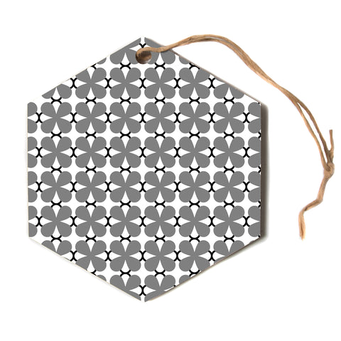 "Trebam ""Lepeza"" Gray White Modern Contemporary Digital Vector Hexagon Holiday Ornament"