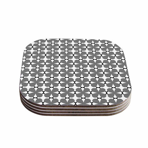 "Trebam ""Lepeza"" Gray White Modern Contemporary Digital Vector Coasters (Set of 4)"