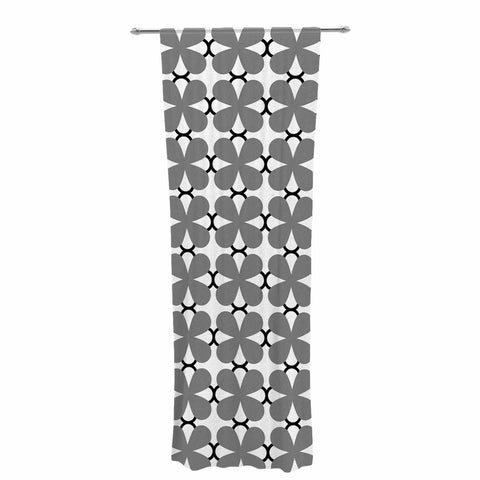 "Trebam ""Lepeza"" Gray White Modern Contemporary Digital Vector Decorative Sheer Curtain"