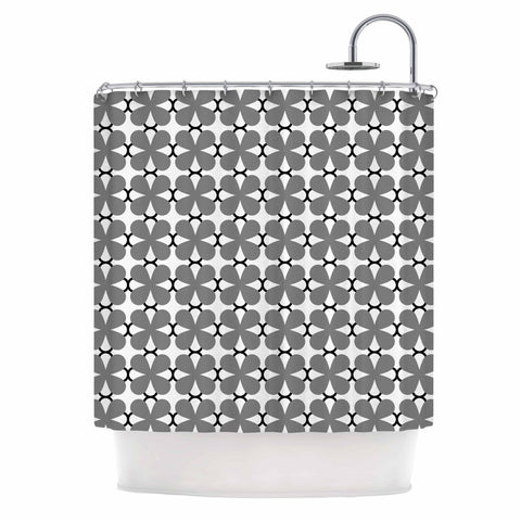 "Trebam ""Lepeza"" Gray White Modern Contemporary Digital Vector Shower Curtain"