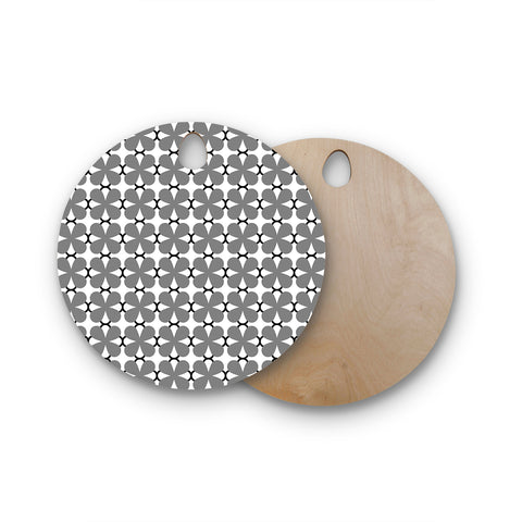 "Trebam ""Lepeza"" Gray White Modern Contemporary Digital Vector Round Wooden Cutting Board"