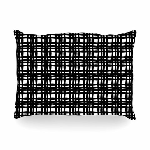 "Trebam ""Kariran (Black/White)"" Gray White Modern Contemporary Digital Vector Oblong Pillow"