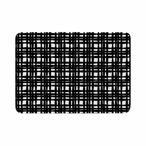 "Trebam ""Kariran (Black/White)"" Gray White Modern Contemporary Digital Vector Memory Foam Bath Mat"