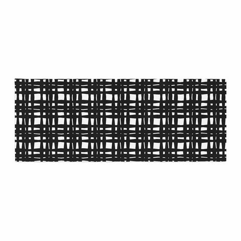 "Trebam ""Kariran (Black/White)"" Gray White Modern Contemporary Digital Vector Bed Runner"
