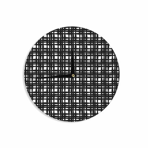 "Trebam ""Kariran (Black/White)"" Gray White Modern Contemporary Digital Vector Wall Clock"