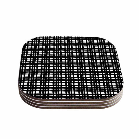 "Trebam ""Kariran (Black/White)"" Gray White Modern Contemporary Digital Vector Coasters (Set of 4)"