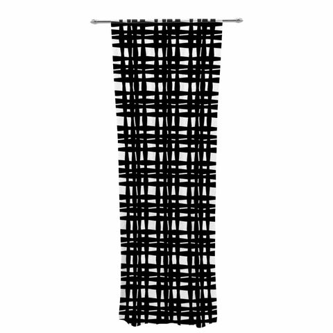 "Trebam ""Kariran (Black/White)"" Gray White Modern Contemporary Digital Vector Decorative Sheer Curtain"