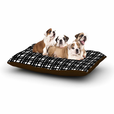 "Trebam ""Kariran (Black/White)"" Gray White Modern Contemporary Digital Vector Dog Bed"