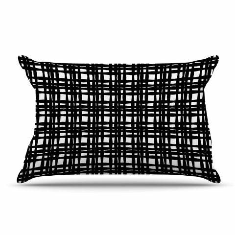 "Trebam ""Kariran (Black/White)"" Gray White Modern Contemporary Digital Vector Pillow Sham"