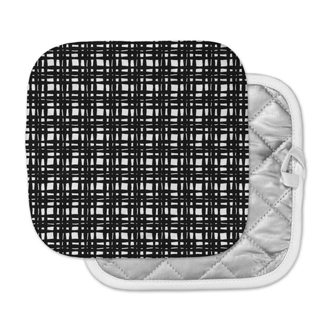 "Trebam ""Kariran (Black/White)"" Gray White Modern Contemporary Digital Vector Pot Holder"