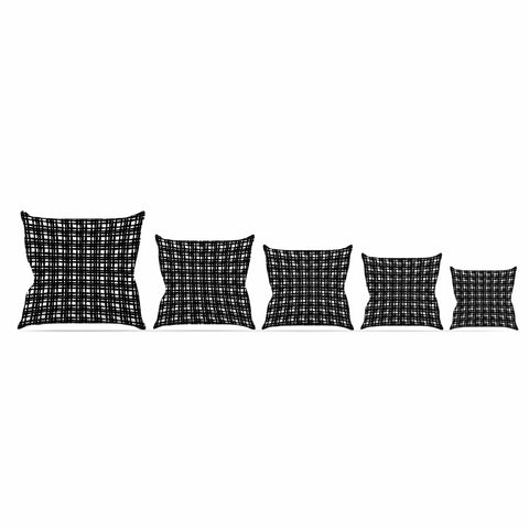 "Trebam ""Kariran (Black/White)"" Gray White Modern Contemporary Digital Vector Throw Pillow"