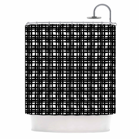 "Trebam ""Kariran (Black/White)"" Gray White Modern Contemporary Digital Vector Shower Curtain"