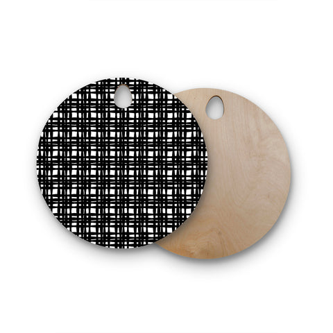 "Trebam ""Kariran (Black/White)"" Gray White Modern Contemporary Digital Vector Round Wooden Cutting Board"
