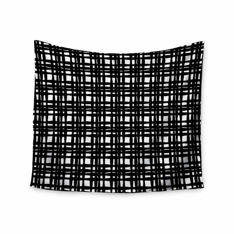 "Trebam ""Kariran (Black/White)"" Gray White Modern Contemporary Digital Vector Wall Tapestry"