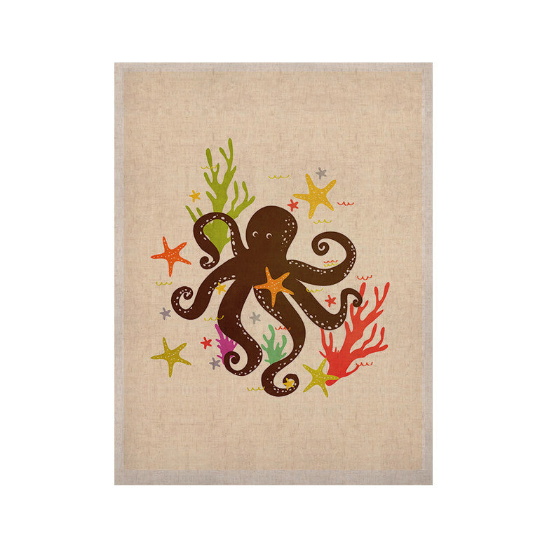 "Strawberringo ""Friends Around the Sea"" Octopus Tan KESS Naturals Canvas (Frame not Included) - KESS InHouse  - 1"