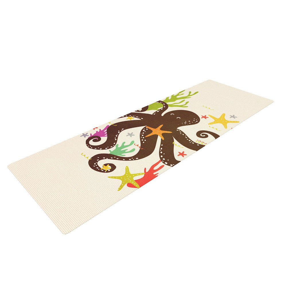 "Strawberringo ""Friends Around the Sea"" Octopus Tan Yoga Mat - KESS InHouse  - 1"