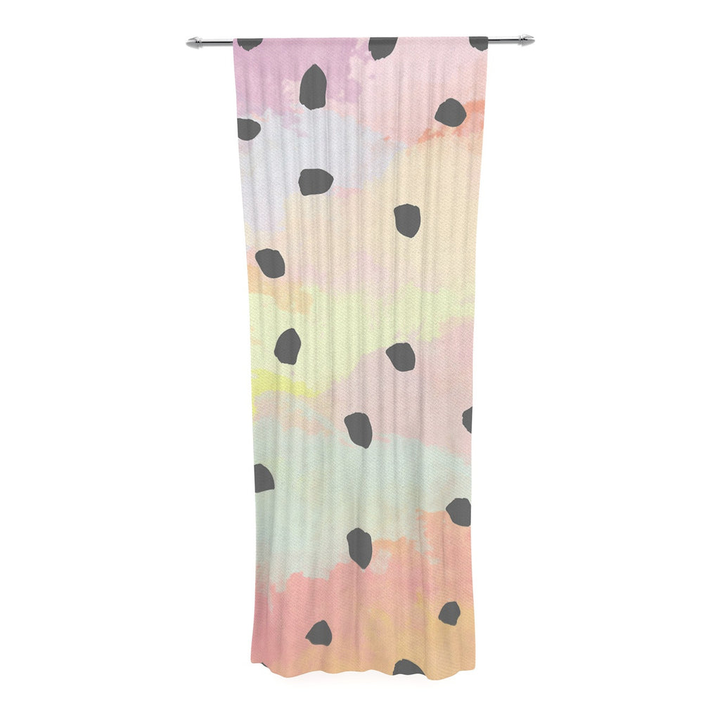 "Strawberringo ""With Dots"" Pastel Painting Decorative Sheer Curtain - KESS InHouse  - 1"