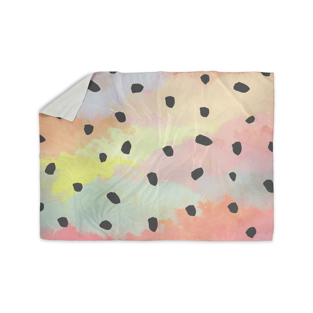 "Strawberringo ""With Dots"" Pastel Painting Sherpa Blanket - KESS InHouse  - 1"